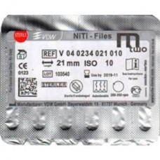 VDW Mtwo file niti files  6pcs/pack  21mm #10/04 VDW М2 Тейпер NiTi 16mm V04-0234-021-010