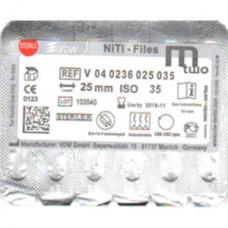 VDW Mtwo file niti files  6pcs/pack  25mm #35/06  VDW М2 Тейпер NiTi 16mm V04-0236-025-035