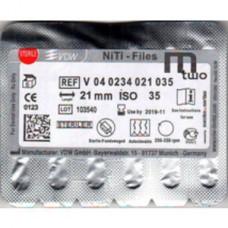 VDW Mtwo file niti files  6pcs/pack  21mm #35/04 VDW М2 Тейпер NiTi 16mm V04-0234-021-035
