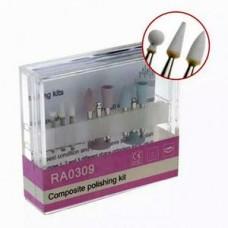 0309-RA полир. набор для композитов,виниров (3 керамические головки +6 силиконовых) Китай
