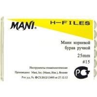 Mani H-file 25мм ISO 15  A+ (оригинал новая упаковка) 1 уп. содержит 6 файлов